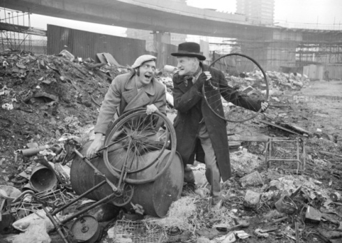 Harry H Corbett and Wilfrid Brambell, stars of the popular TV series Steptoe and Son, on a patch of waste ground in Shepherd's Bush in 1970 (Photo by Central Press/Getty Images)