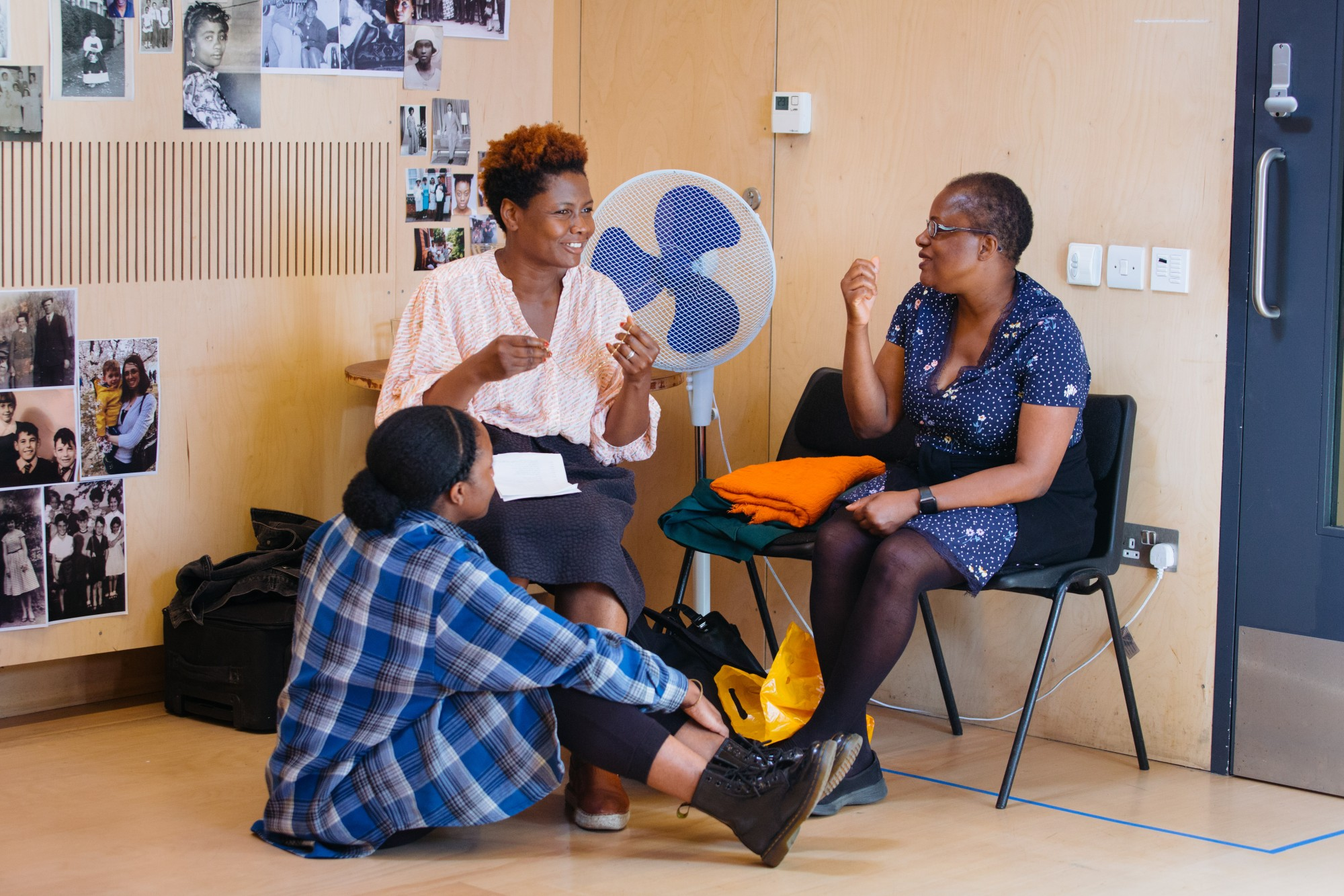 Nicholle Cherrie, Sarah Niles and Winsome Pinnock in rehearsals for Leave Taking at the Bush Theatre © Helen Murray