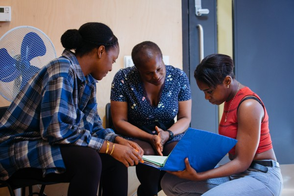 Nicholle Cherrie, Winsome Pinnock and Seraphina Beh in rehearsals for Leave Taking at the Bush Theatre © Helen Murray