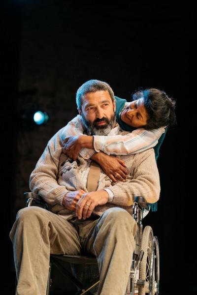 Selva Rasalingam (Older Rasik) and Nila Aalia (Older Jyoti) in An Adventure at the Bush Theatre © Helen Murray