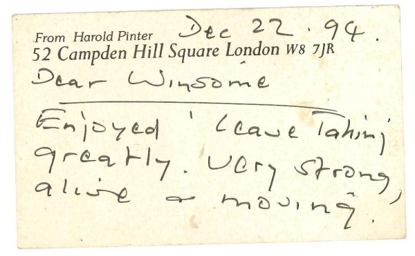 Harold Pinter note to Winsome Pinnock [Front]