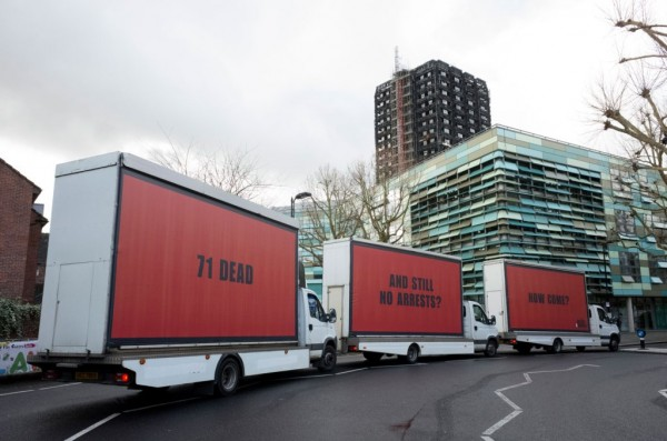 Three Billboards outside Grenfell tower, London. Photo:  Justice 4 Grenfell