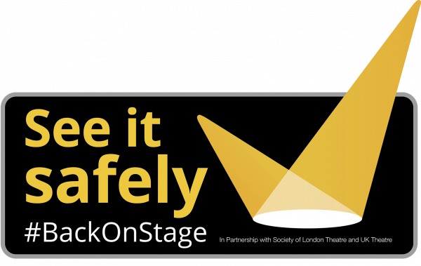See it safely mark - yellow tick in the shape of two light beams, with the hashtag #BackOnStage